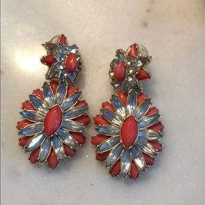 Baublebar earrings coral and diamond colors